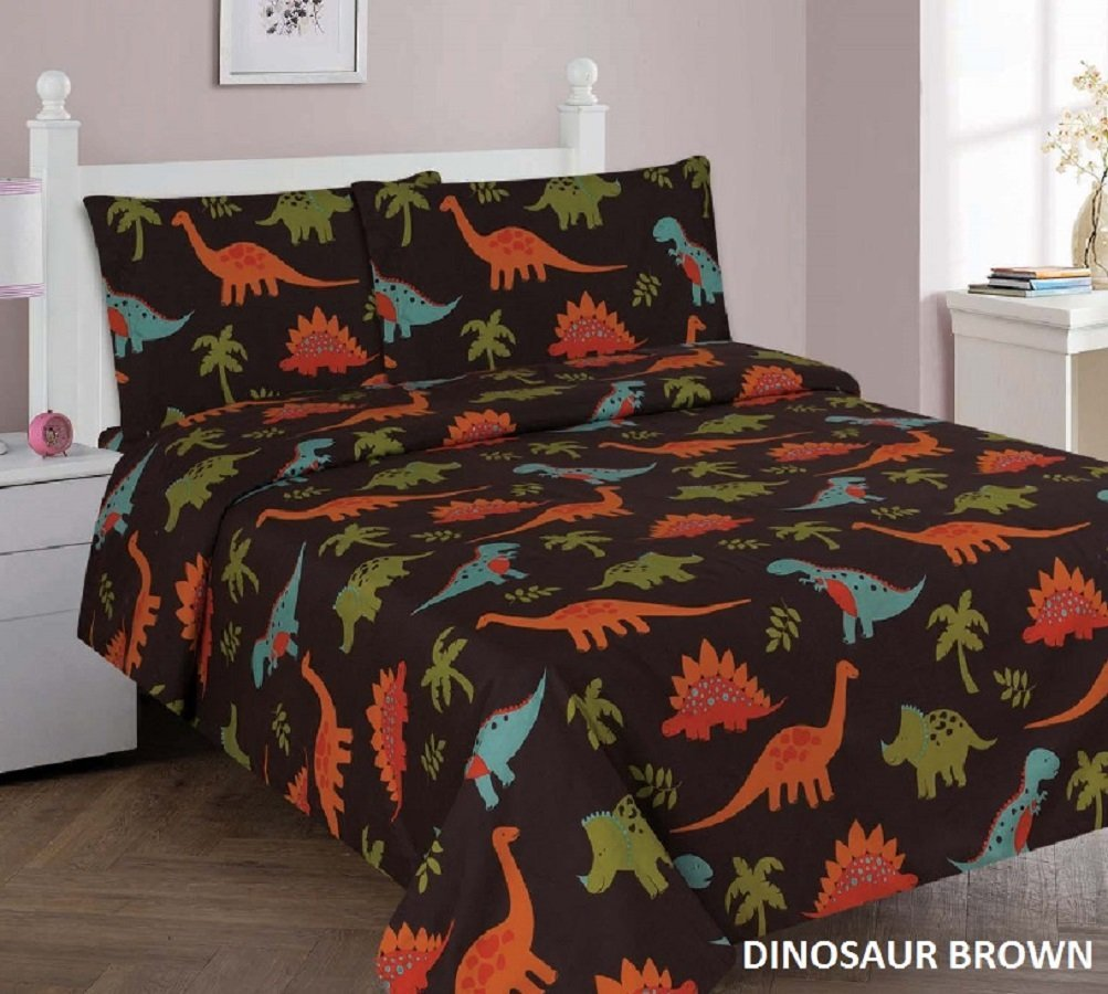 WPM Dinosaur Brown Print Bedding Set Choose From Full/Twin Comforter Or Bed  Sheets Or Window Curtains Panels For Kids/girls/boys Room (Full Sheets)