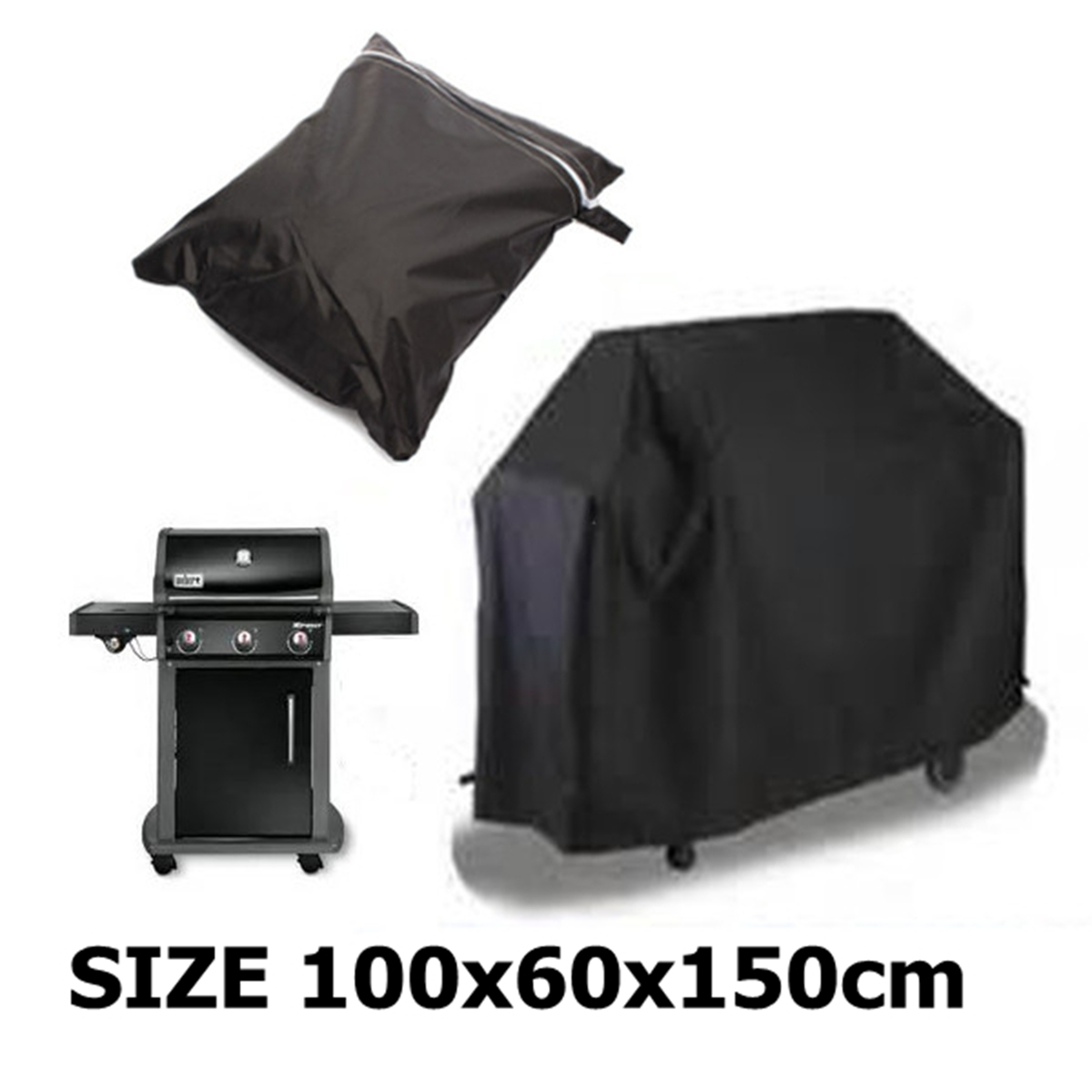 Black Waterproof BBQ Cover Outdoor Rain Barbecue Grill Protector 100X60X150cm