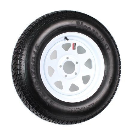 - Trailer Tire On Rim ST205/75D15 F78-15 205/75-15 LRC 5 Lug Wheel White Spoke