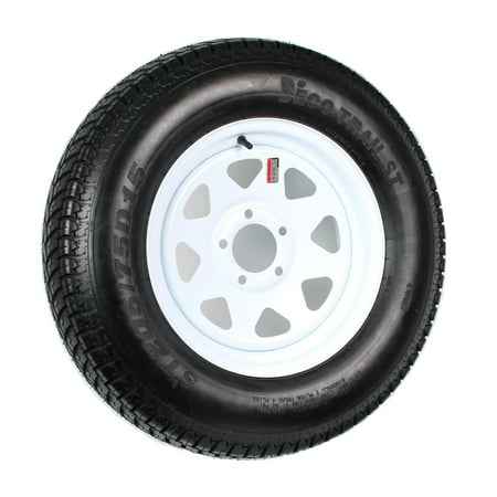 2 Heavy Duty Mounted Trailer Tires Rims ST205/75D15 205 75 15 LRD 5H White (Filler Mount Rim)