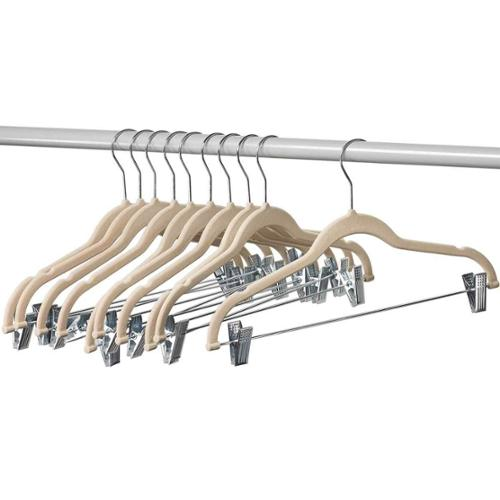 10 Pack Clothes Hangers with clips IVORY Velvet Hangers use for skirt hangers Clothes Hanger pants hangers