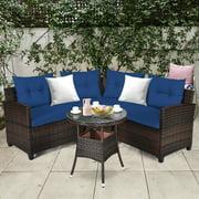 Gymax 4PCS Patio Furniture Set Outdoor Rattan Sectional Sofa Set w/ Navy Cushions