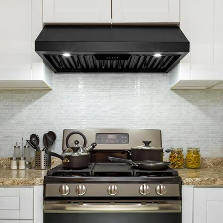 """AKDY 30"""" Under Cabinet Black Painted Finish Push Control Panel Kitchen  Range Hood"""