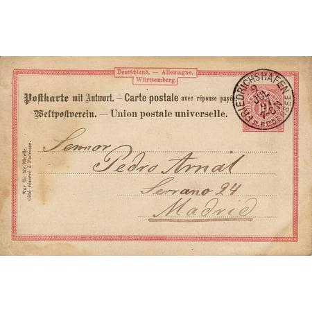 LAMINATED POSTER Nostalgia Germany 1897 Stamp Postcard Old Font Poster Print 24 x 36