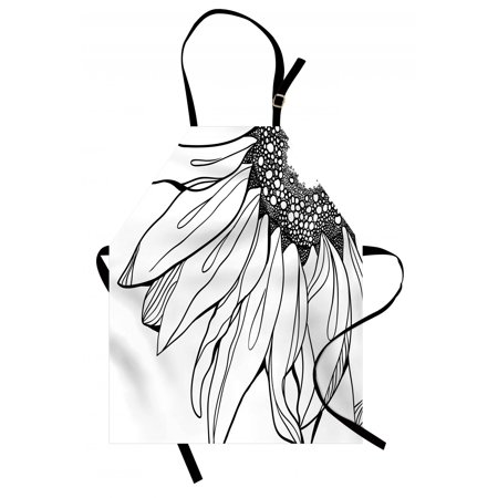 Doodle Parts - Doodle Apron Part of a Sunflower in Black and White Botanical Garden Agricultural Growth Theme, Unisex Kitchen Bib Apron with Adjustable Neck for Cooking Baking Gardening, Black White, by Ambesonne