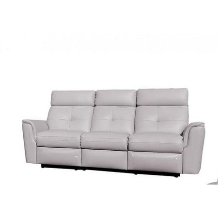 ESF 8501 Chic Light Grey Italian Leather Recliner Sofa Modern