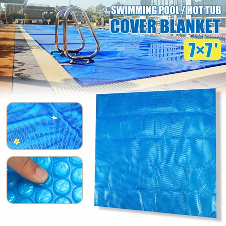 Swimming Pool Winter Cover Spa Cover Hot Tub Thermal Solar Blanket 7x7ft  Blue Square 210×210cm