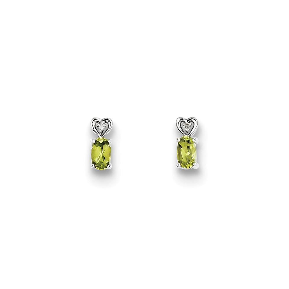 Sterling Silver Peridot & Diamond Earrings. Gem Wt- 0.47ct (8MM Long x 3MM Wide)