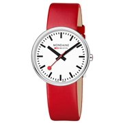 Evo Womens Stainless Steel Silver Case Red Leather Band White Dial Round Watch - A763.30362.11SBC