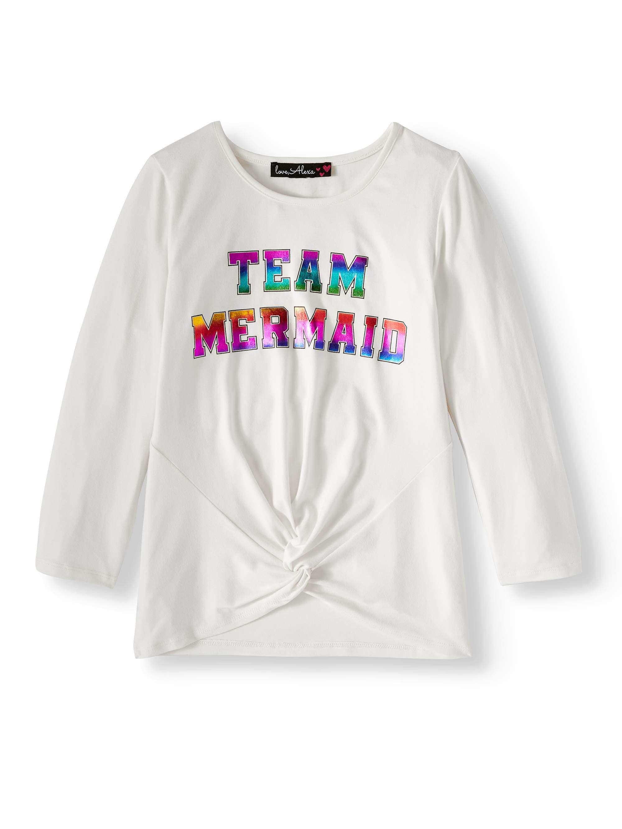 Foil Graphic Love Sleeve Tuck Front T-Shirt (Big Girls)