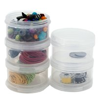"""Containers Storage Small Impact Resistant Stackable Clear 5 For Beads Crafts Findings 2.50"""" Round"""