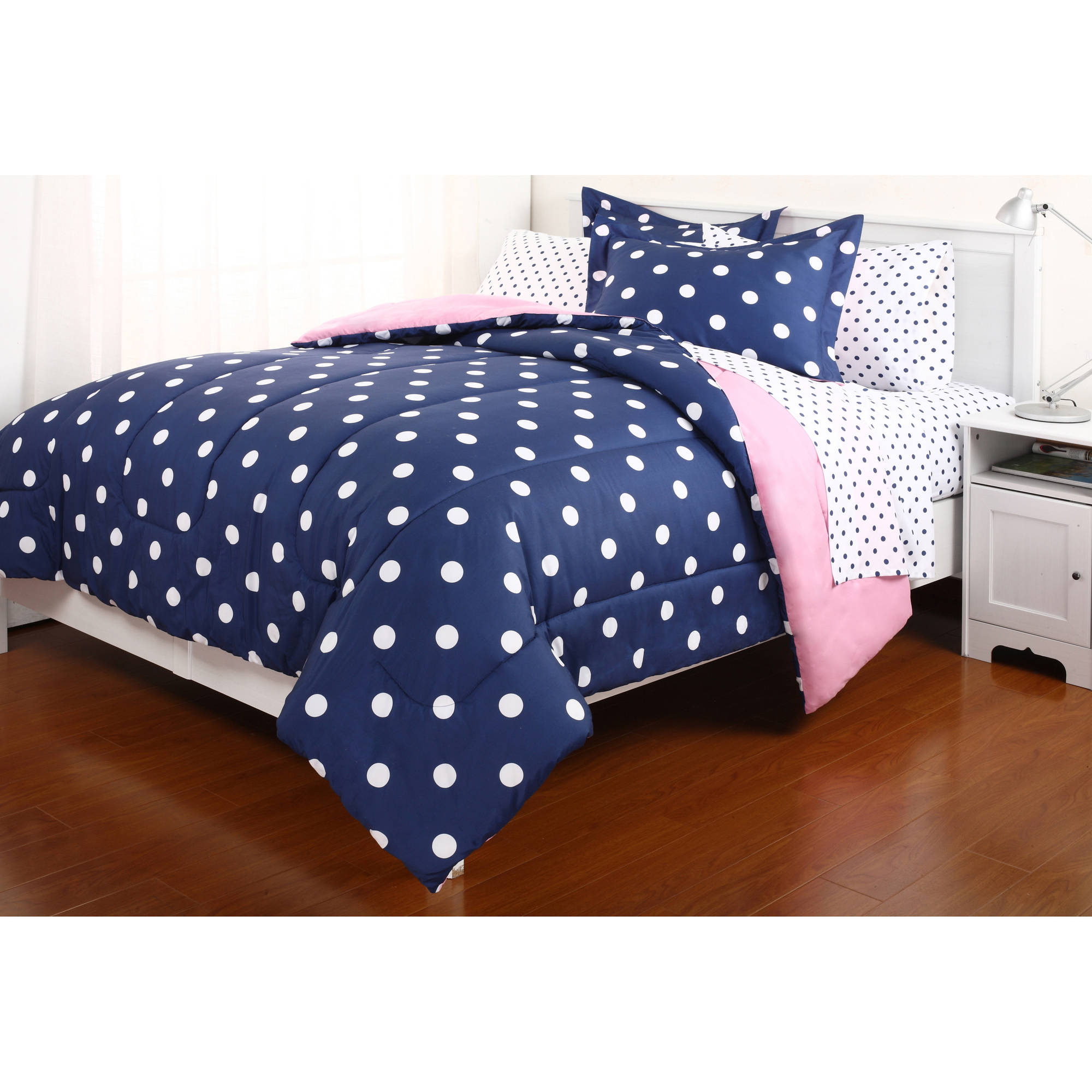 Polka Dot Reversible Bed In A Bag Bedding Set   Walmart.com