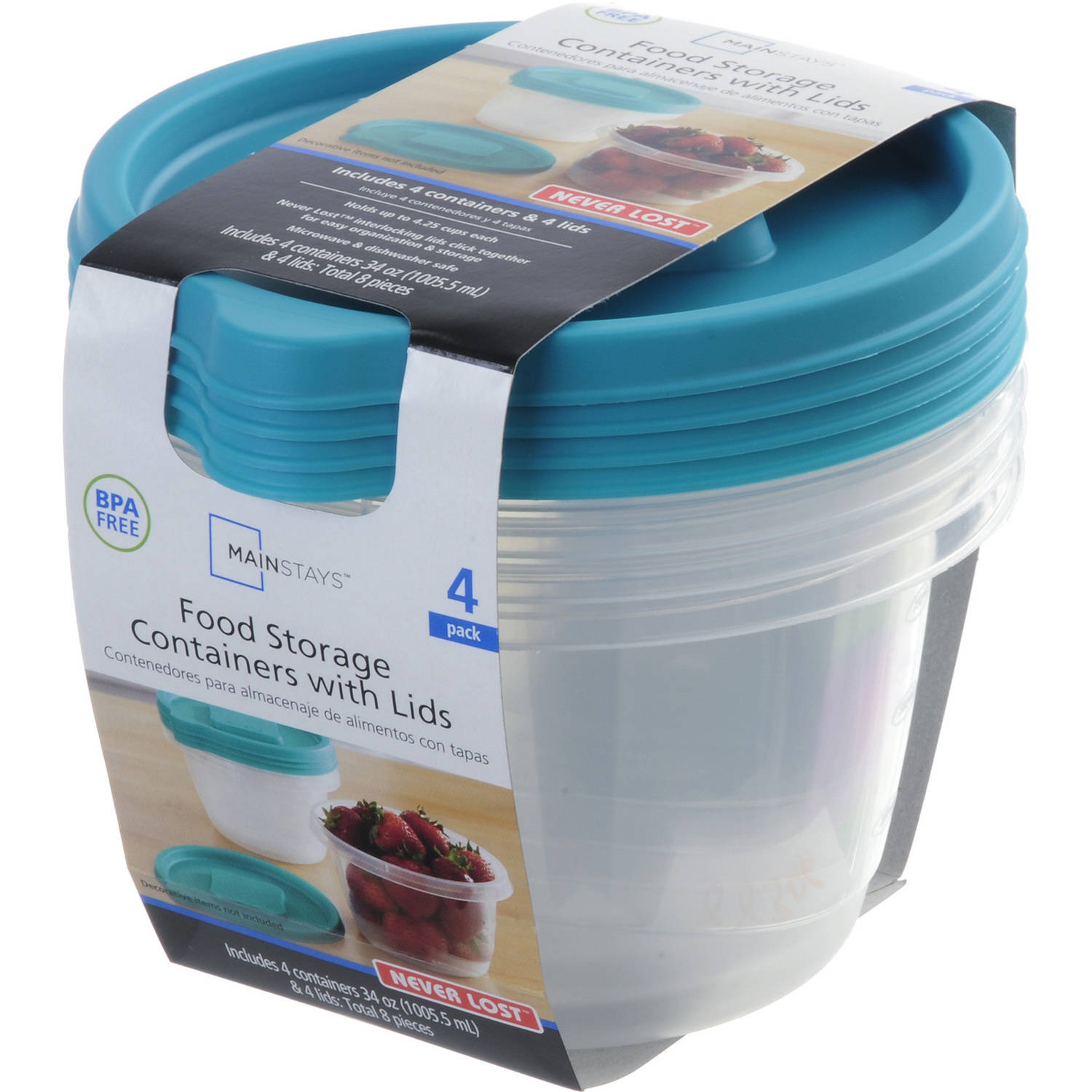 Mainstays Food Storage Containers with Lids, 4 count