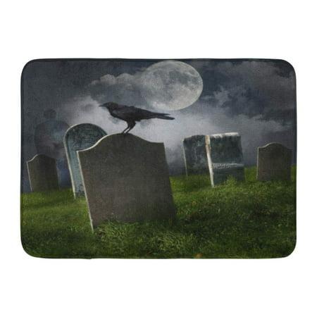GODPOK Death Halloween Cemetery with Old Gravestones Moon and Black Raven Graveyard Tombstone Rug Doormat Bath Mat 23.6x15.7 inch](Funny Halloween Gravestone Names)