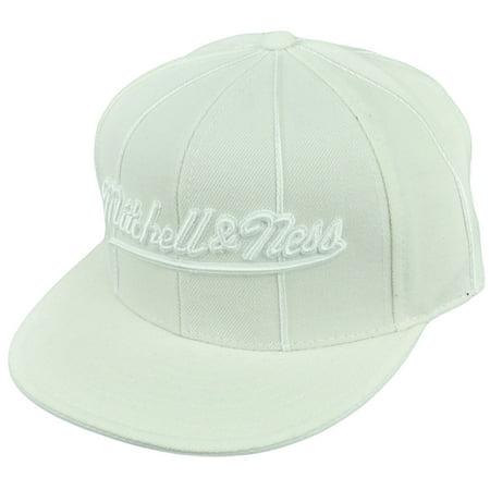 Mitchell Ness Logo White Flat Bill Fitted 7 5/8 Headwear Brand Hat Cap Est 1904