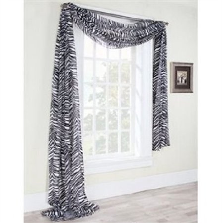 ONE ZEBRA BLACK WINDOW SCARF Sheer Voile Window Panel New Curtian ANIMAL PRINT WINDOW VALANCE SWAG DROPE, sold AS 1(ONE) SCARF PER PURCHASE By MONAGIFTS