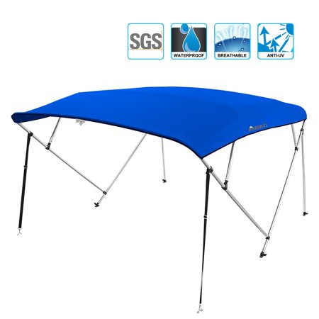 """Kingbird 4 Bow Bimini Boat Top Cover Sun Shade Boat Canopy Waterproof 1 Inch Stainless Aluminum Frame 55"""" Height with Rear Support Poles and Storage Boot (Royal Blue,79""""-84"""")"""