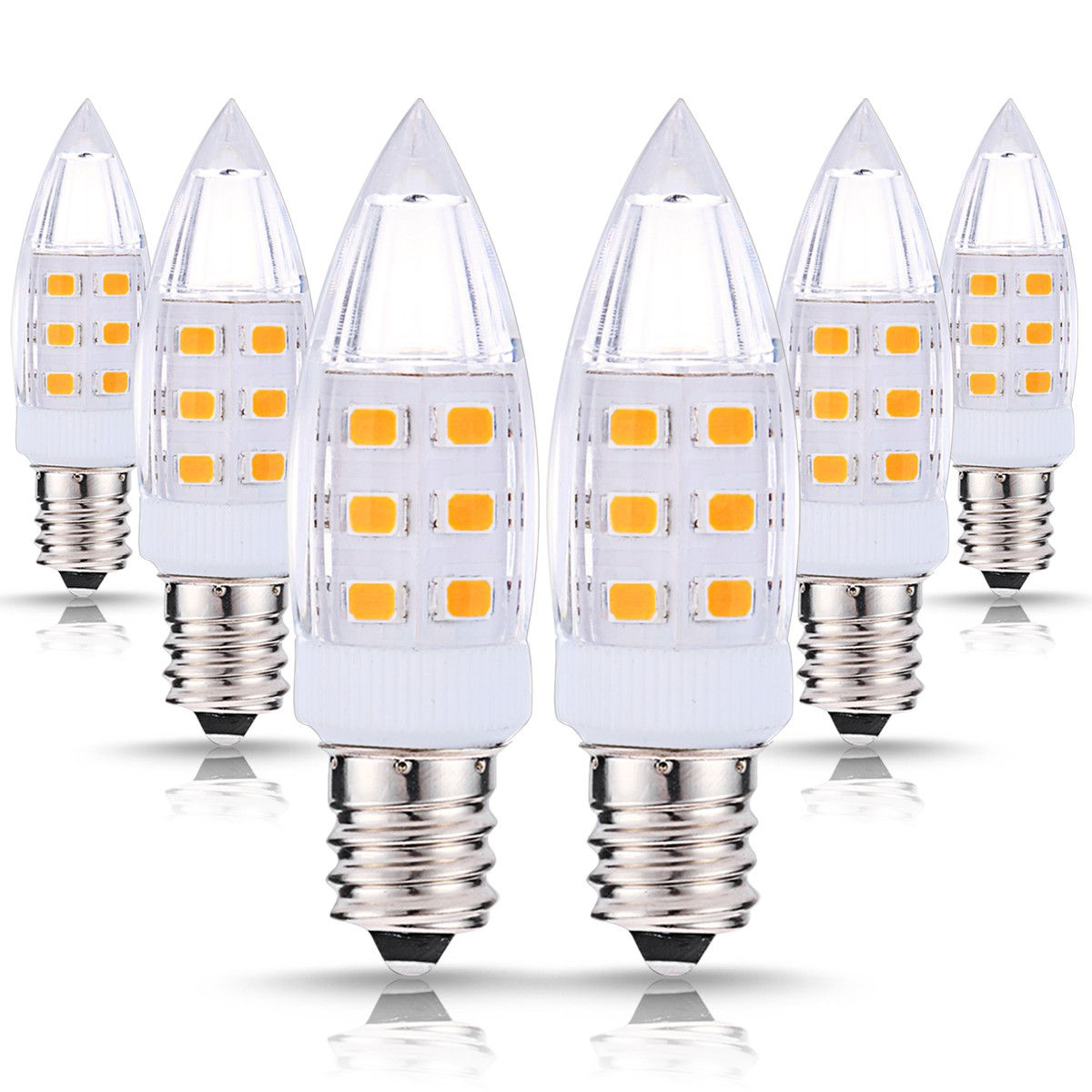 LOHAS LED C7 Night Light Bulbs, 1W (15W Incandescent Equivalent), 200LM, Natural Daylight White (4000K), Candelabra E12 Base Bulbs for Bedroom, Bathroom, 6Pack