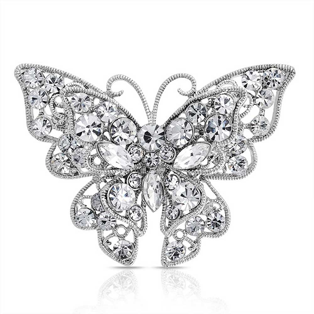 Bling Jewelry Clear Crystal Layered Butterfly Brooch Pin Silver Plated by Bling Jewelry