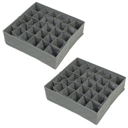Unique Bargains 2 Pack, Drawer Folding 30 Compartment Removable Tie Necktie Socks Organizer Storage Box