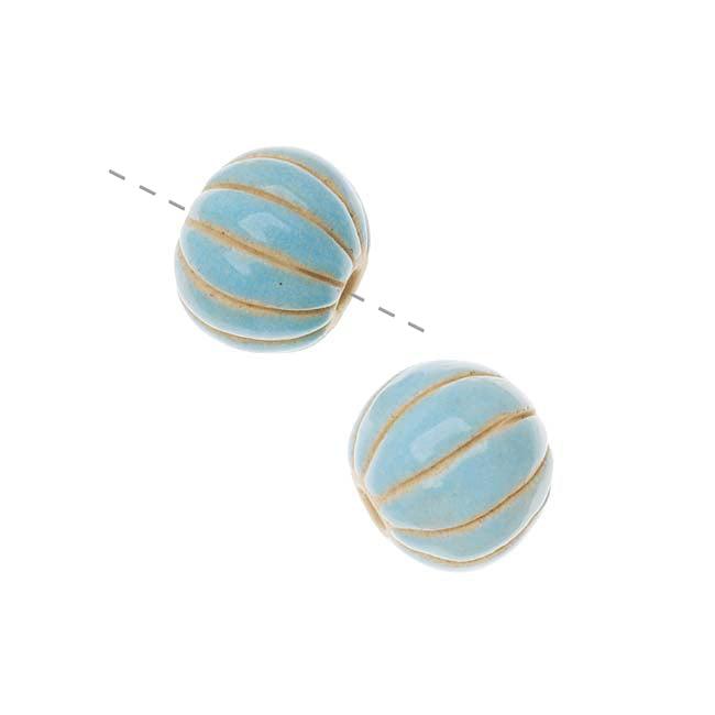 Golem Design Studio Ceramic Beads, 14mm Glazed Round Melon, 2 Pieces, Light Blue