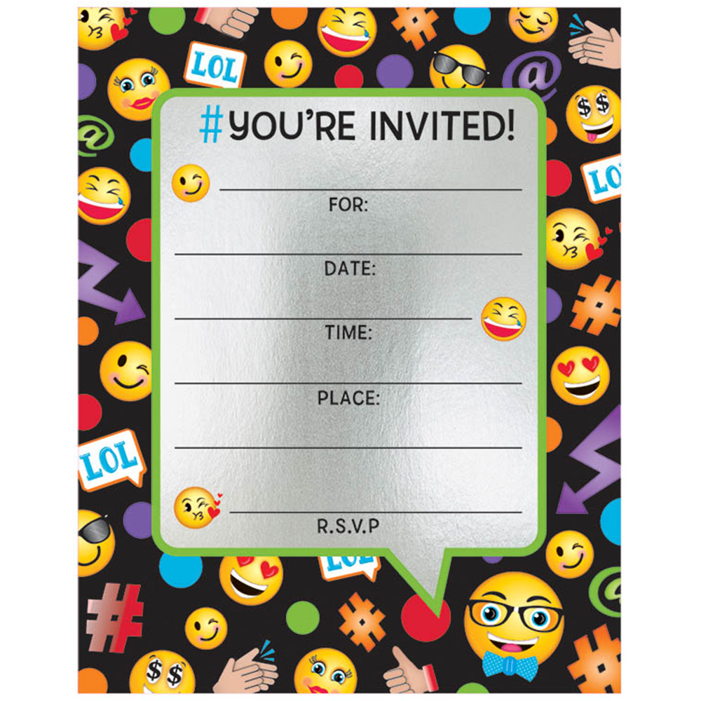 Emoji Foil Birthday Party Invitations 8 Count Party Supplies