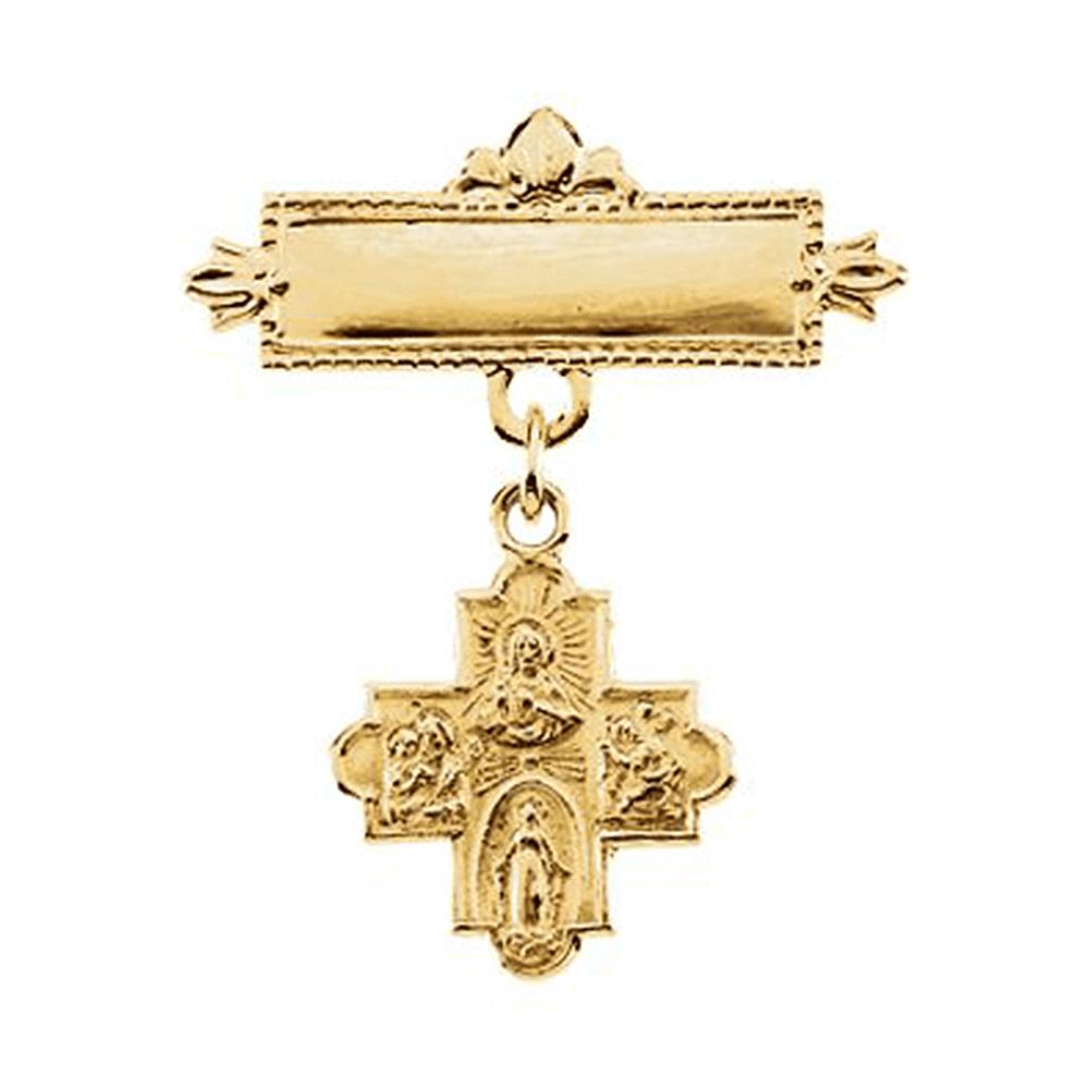 14K Yellow Gold 4-Way Baptismal Pin Brooch by