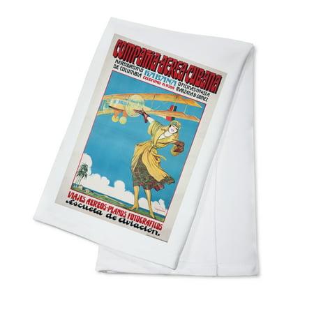 Compania Aerea Cubana Vintage Poster (artist: Pena) Cuba c. 1920 (100% Cotton Kitchen Towel)
