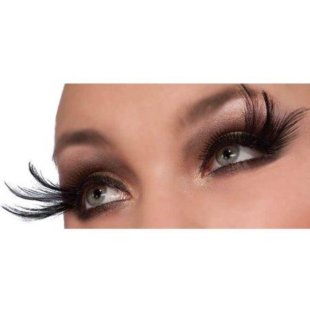 Cleopatra Feather Lashes, Includes one set long black feather eyelashes By Forum Novelties (Peacock Feather Eyelashes)