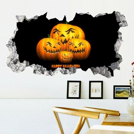 AkoaDa Happy Halloween 3D Broken Wall Sticker Pumpkin Decal Living Room Home Decor