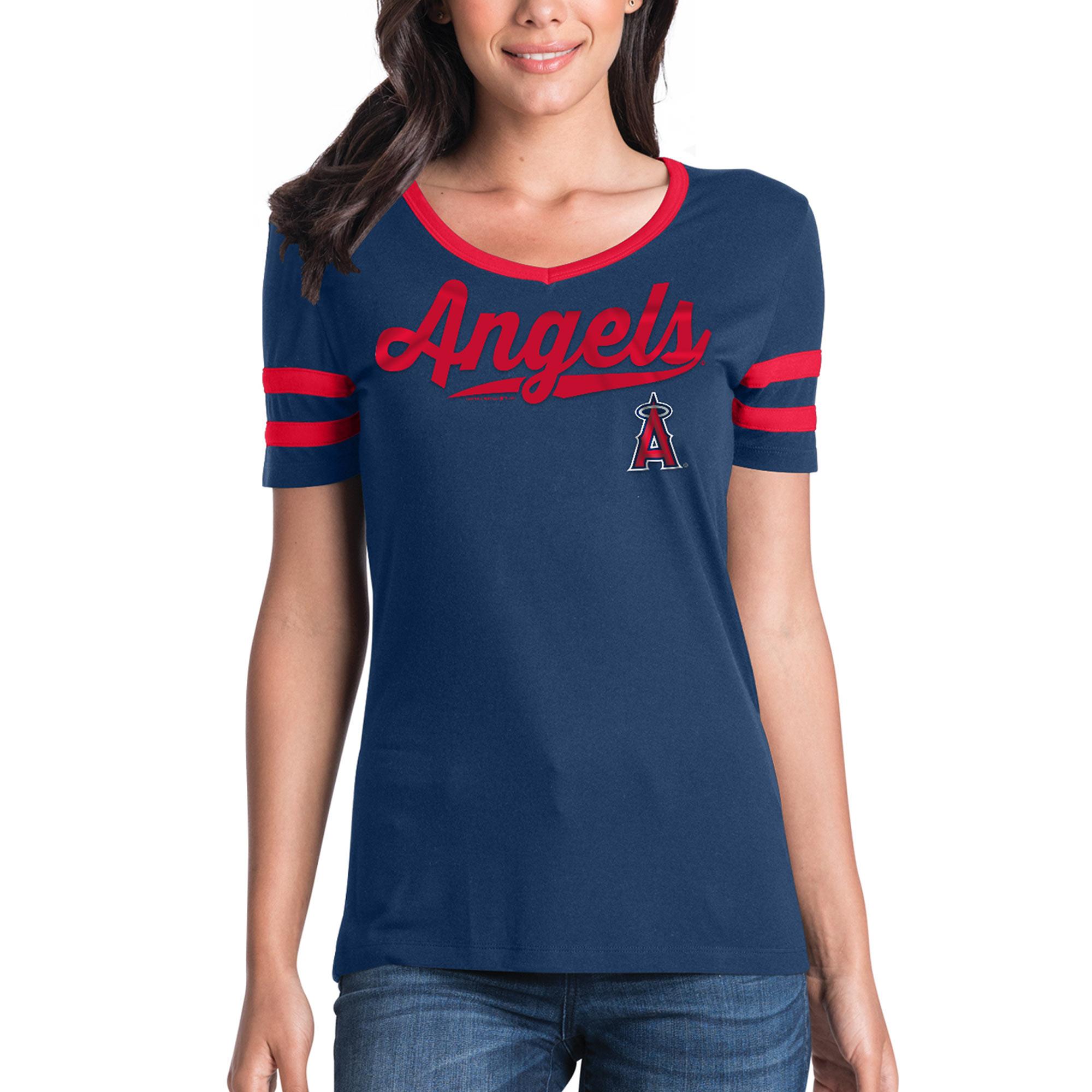 Women's New Era Navy Los Angeles Angels Jersey V-Neck T-Shirt