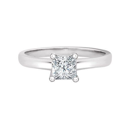 Sterling Silver White Rhodium, Solitaire Lady Wedding Ring Princess Cut Created CZ Crystals 5mm 0.75ct