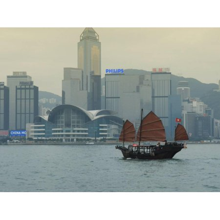 One of the Last Remaining Chinese Sailing Junks on Victoria Harbour, Hong Kong, China Print Wall Art By Amanda Hall