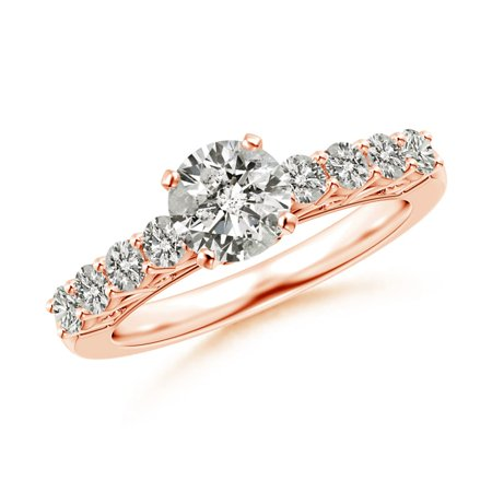 April Birthstone Ring - Diamond Solitaire Engagement Ring with Filigree in 18K Rose Gold (6.1mm Diamond) - SR1520D-RGE-JI2-6.1-4