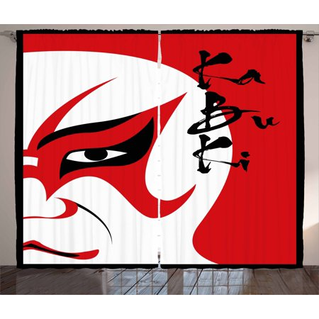 Kabuki Mask Curtains 2 Panels Set  Asian Style Drama Theater Kabuki Face With Stylized Calligraphy Print  Window Drapes For Living Room Bedroom  108W X 63L Inches  Vermilion Black  By Ambesonne