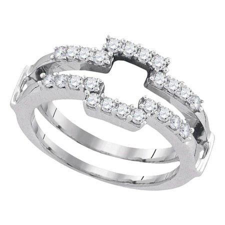 Diamond Ring Wrap Guard Insert - 14kt White Gold Womens Round Diamond Square Wrap Ring Guard Enhancer Wedding Band 1/2 Cttw