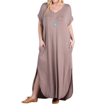 Women Solid Casual Loose Maxi Dresses Plus Size](Red Dress Boutique Promo Code)