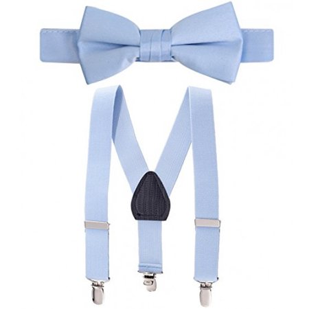 3dd4952ead18 HOLD'EM - Hold'Em Suspender and Bow Tie Set for Kids - Proudly Made in USA  - Extra Sturdy Polished Silver Metal Clips, Pre tied Bow Tie-Light Blue 22