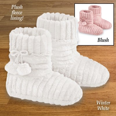 Faux Fur Warm Slipper Booties with Fleece Lining and Stylish Plush Pom-Poms, Blush,