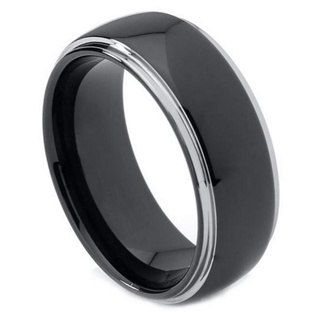 TK Rings 123TR-8mmx8.5 8 mm Domed High Polish Black IP Plated Rounded Edge Tungsten Ring - Size 8.5 - image 1 de 1