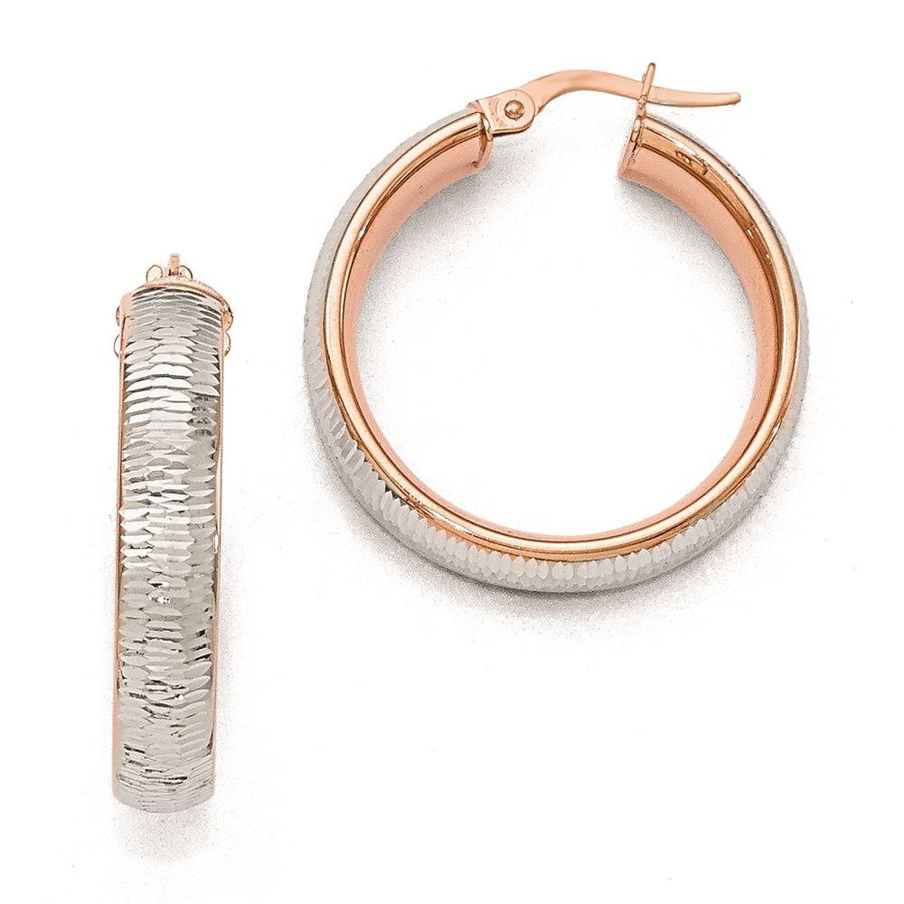 Leslies 14k Rose Gold Polished w/ Rhodium D/C Textured Hoop Earrings 29mm x 5mm