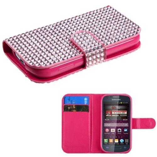 Insten Pink Diamonds Book-Style MyJacket Wallet Case For SAMSUNG Galaxy Ring M840