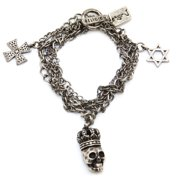Religion Women's Multi Chain Skull Charm Bracelet One Size Silver