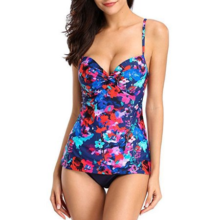 9291ad2805 Fashion Women Ladies Girls Floral Plus Size Two Piece Swimsuit Sexy Tankini  Sets Swimwear Beachwear Swimming