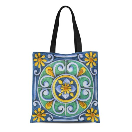 SIDONKU Canvas Bag Resuable Tote Grocery Shopping Bags Blue Italian Ornaments on the Tiles Watercolor Pain Italy Majolica Floral Brown Tote
