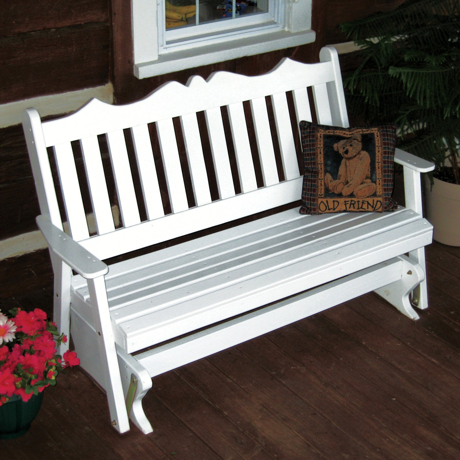 A & L Furniture Yellow Pine Royal English Deluxe Outdoor Bench Glider