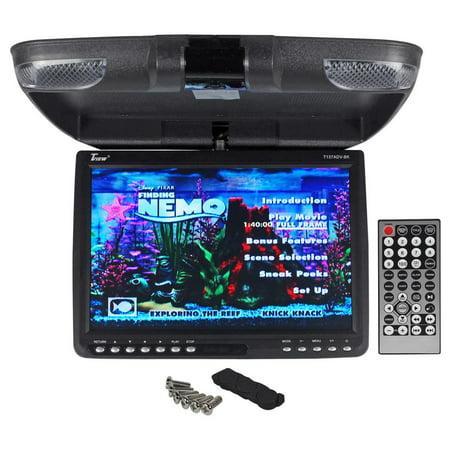 Tview T137adv 13   Black Flip Down Car Video Monitor Dvd Usb Sd   Dome Lights