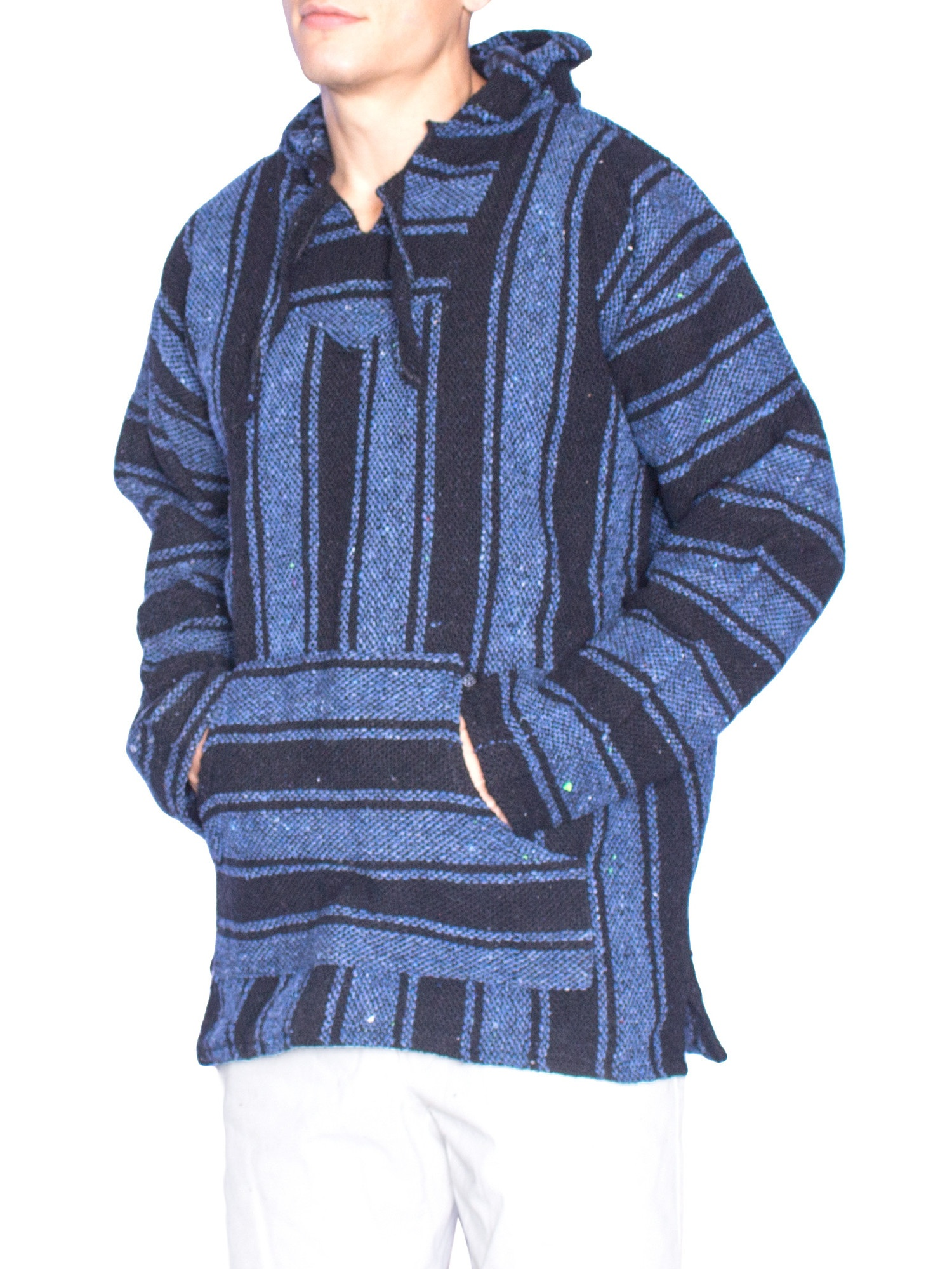 mens pullover poncho hoodie front pocket mexican blanket print (medium,  rasta)