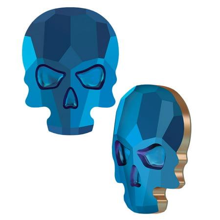Swarovski Crystal, #2856 Skull Flatback Rhinestone 14x10.5mm, 1 Piece, Crystal Metallic Blue F