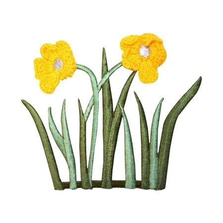 ID 6940 Yarn Flower Blossom Patch Grass Plant Bush Embroidered Iron On Applique (Fast Grass Patch)